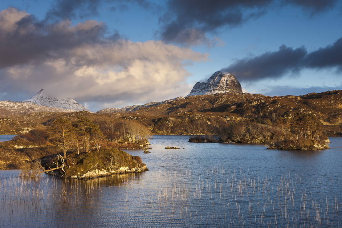 Loch Druim Suardalain with Mts Canisp & Suilven dusted in snow, Sutherland, Scotland