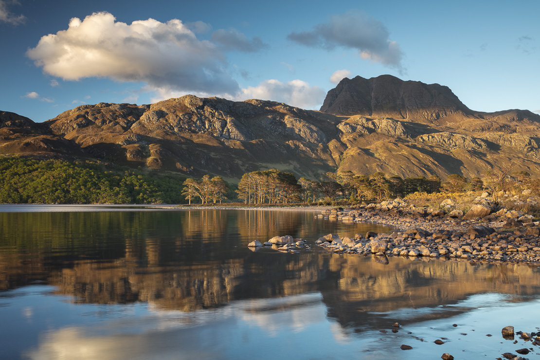 evening light & perfect reflections on Loch Maree & Slioch, Wester Ross, Scotland