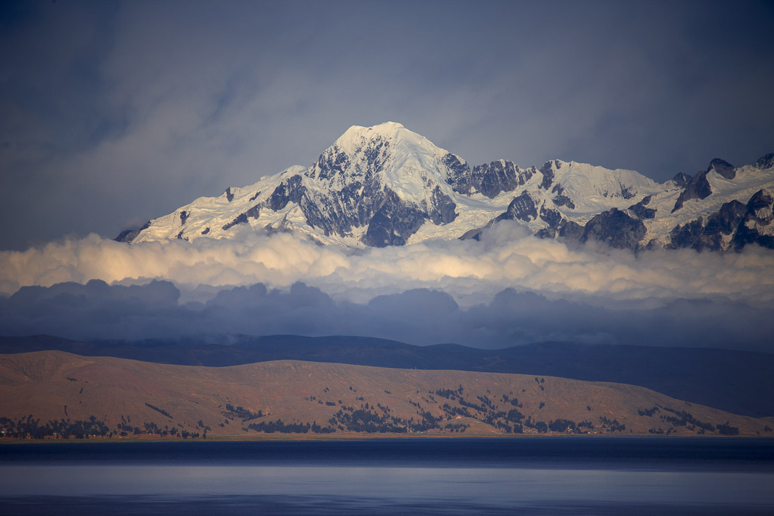 the Cordillera Real in the Andes from Lake Titicaca, Bolivia