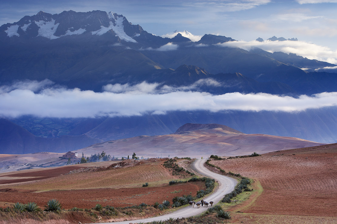 Mt Chicon & the Cordillera Urubamba  (Andes) above the road to Marras on Pampasmojo, above the Sacred Valley, nr Cusco, Peru