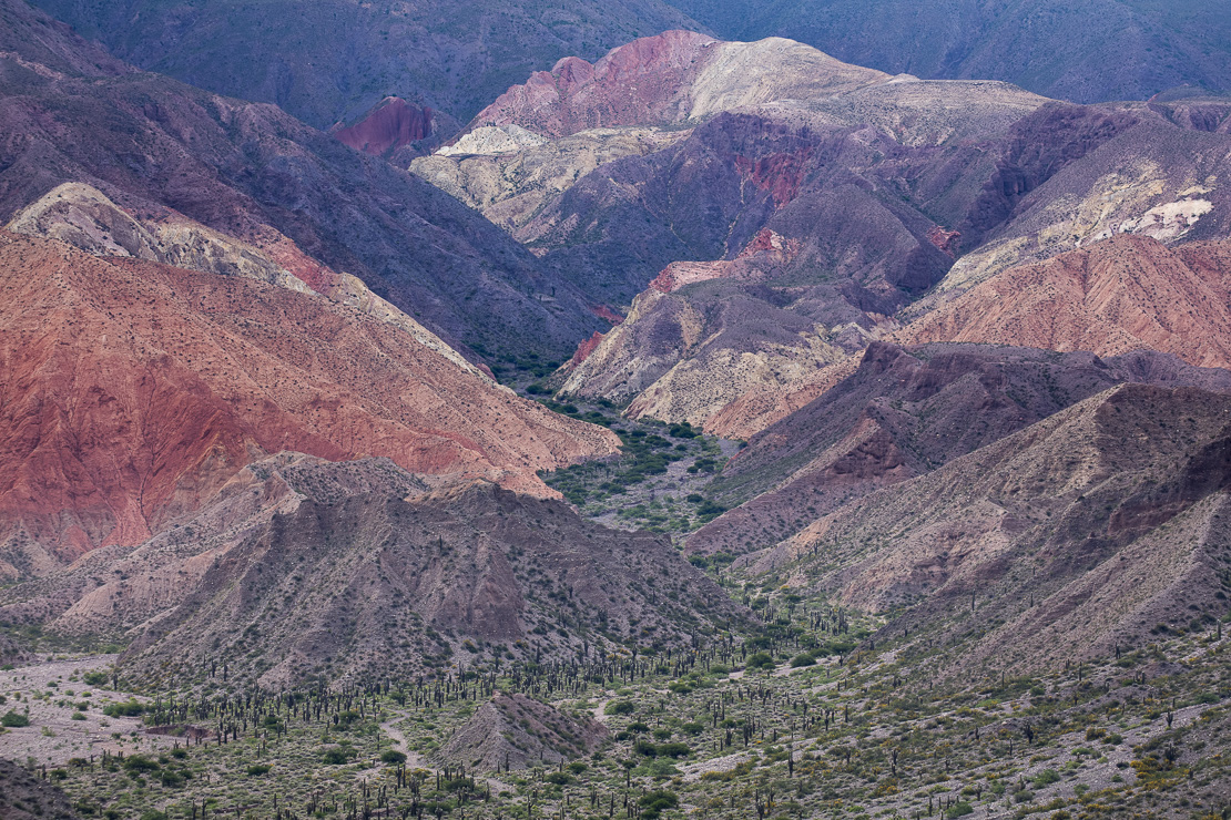 colours in the mountains of the Quebrada de Humahuaca nr Tilcara, Jujuy Province, Argentina