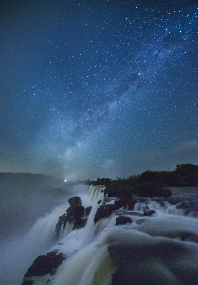 the Milky Way over Iguazu Falls at night, Argentina