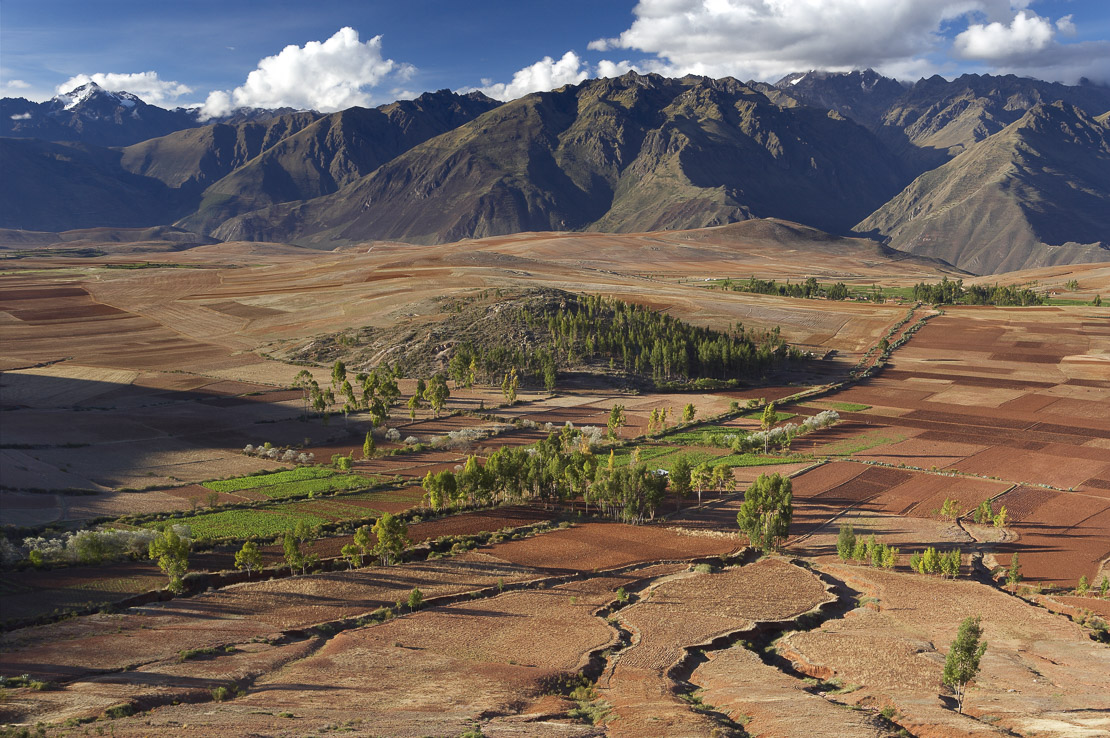 farmland above the Sacred Valley with the Urubamba Cordillera of the Andes, nr Cusco, Peru