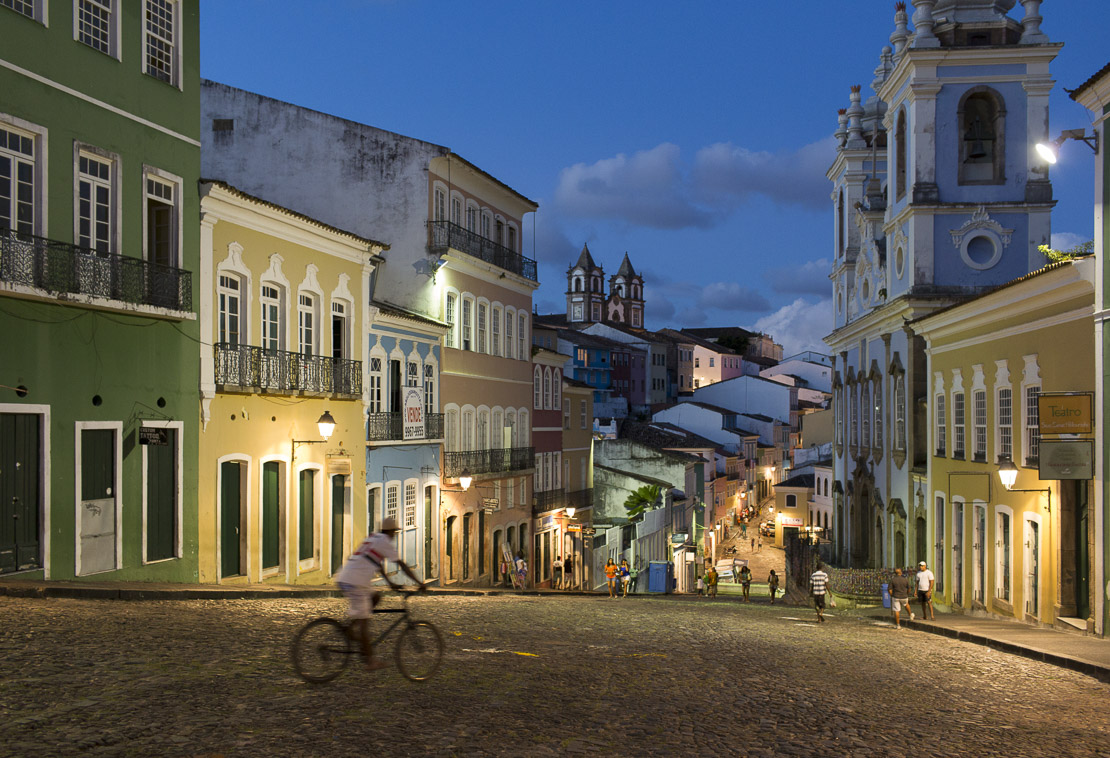 The Pelourinho in the old town of Salvador at night, Bahia. Brazil