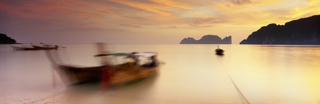 boats on beach, Kho Phi Phi, Kho Phi Ley in distance, Thailand
