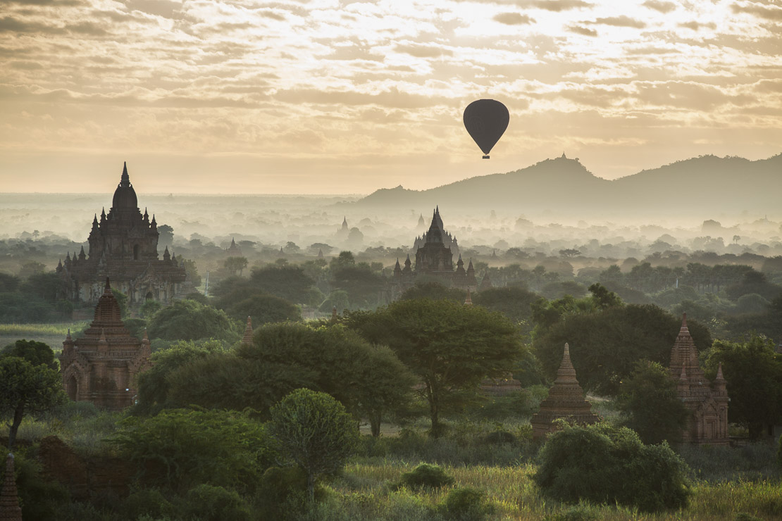 balloons over the Temples of Bagan at dawn, Myanmar (Burma)