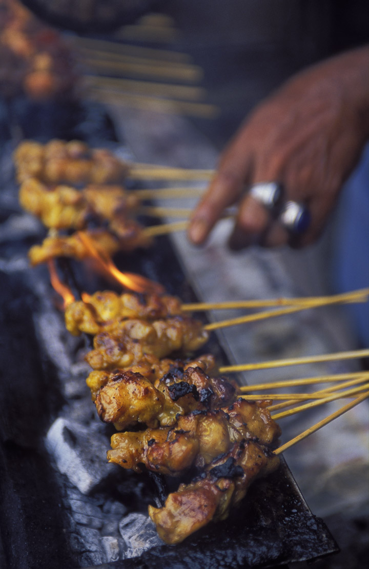 chicken satay being barbequed, street food, Chiantown, Kuala Lumpur, Malaysia
