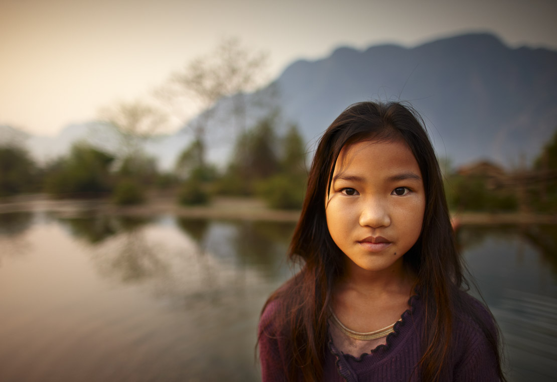 portrait of a girl nr Vang Vieng, Laos