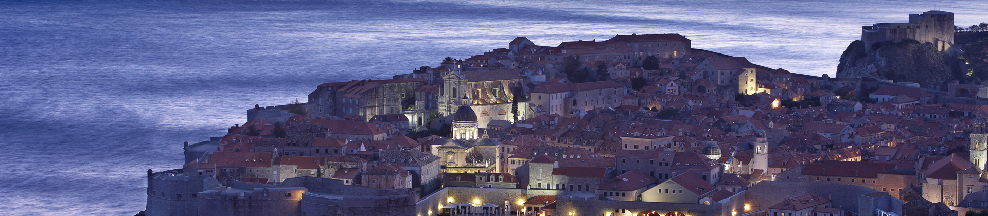 the old town and harbour at dusk, Dubrovnik, Dalmatia, Croatia