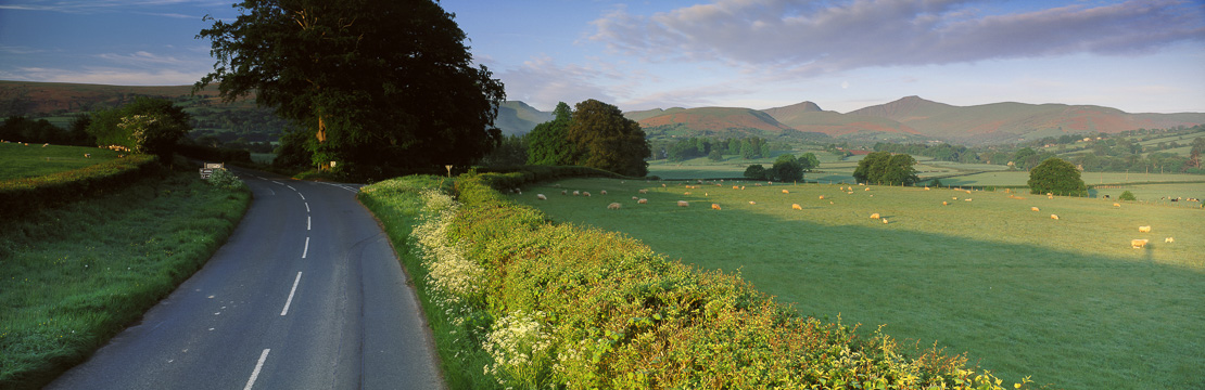 country road, nr Llanfrynach, Brecon Beacons National Park, Wales, UK