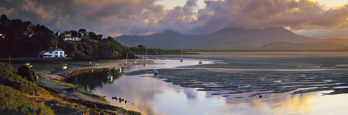 the Glaslyn Estuary from Porthmadog, Snowdonia, Wales, UK