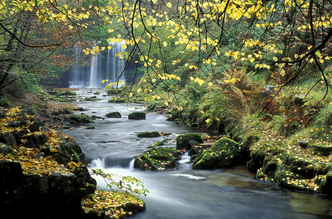 Sgwd Y Eira waterfall, autumn, Brecon Beacons National Park, Wales, UK